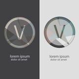Buchstabe V mit mehrfachen Farbkombinationen Lizenzfreie Stockbilder
