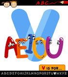 Buchstabe V mit Vokalkarikaturillustration Lizenzfreie Stockbilder