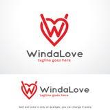 Buchstabe W und Liebe Logo Template Design Vector, Emblem, Konzept des Entwurfes, kreatives Symbol, Ikone Stockbild