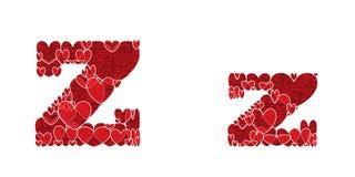 Buchstabe Z, gemacht von den Herzen Lizenzfreie Stockfotos