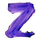 Buchstabe Z gezeichnet mit blauen Farben Lizenzfreies Stockfoto