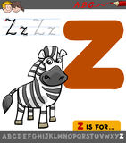 Buchstabe z mit Karikaturzebra Lizenzfreies Stockfoto