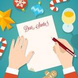 Buchstabe zu Santa Flat Style Christmas Vector-Karte oder -hintergrund Stockfotografie