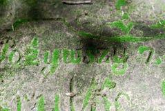 Buchstaben auf dem Grab von des 19. Jahrhunderts überwältigt mit Moos Forgott Stockfotografie