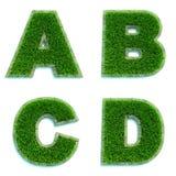 Buchstaben A, B, C, D als Rasen - Satz 3d Stockbilder