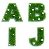 Buchstaben A, B, I, J als Rasen - Satz 3d Lizenzfreie Stockbilder