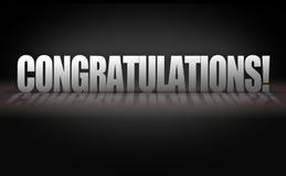 Buchstaben der Glückwunsch-3D auf schwarzem Hintergrund Stockbilder