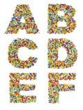 Buchstaben des Alphabetes A bis F gemacht vom bunten Glas-bea Stockbild