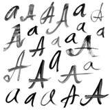 Buchstaben des Alphabetes geschrieben mit einem brus Lizenzfreie Stockfotografie