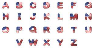 Buchstaben des Alphabetes mit der amerikanischen Flagge Lizenzfreies Stockfoto