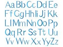 Buchstaben des englischen Alphabetes, blaue Farbe Stockbilder