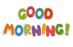 Buchstaben des gutenmorgens Stockbild