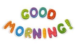 Buchstaben des gutenmorgens Stockfoto