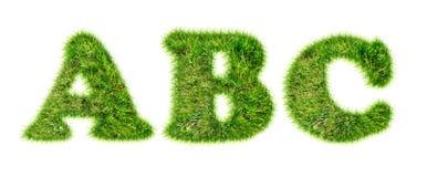 Buchstaben des lateinischen Alphabetes gemacht vom Gras Stockbilder