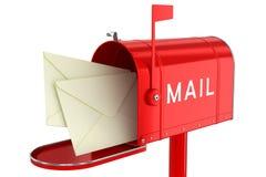 Buchstaben in einem offenen Briefkasten stock abbildung