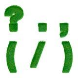 Buchstaben gemacht vom grünen Gras lokalisiert auf Weiß Lizenzfreies Stockfoto