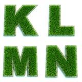 Buchstaben K, L, M, N als Rasen - Satz 3d Stockfoto