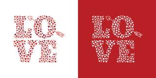 Buchstaben LIEBE mit dem Pfeil des Amors lizenzfreie abbildung