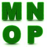 Buchstaben M, N, O, P 3d des grünen Grases - Satz Stockfotos