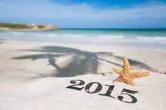 2015 Buchstaben mit Starfish, Ozean, Strand und Meerblick Lizenzfreie Stockfotografie