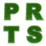 Buchstaben P, R, T, S als Rasen - Satz 3d Stockfotos