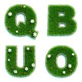Buchstaben Q, B, U, O als Rasen - Satz 3d Stockbilder