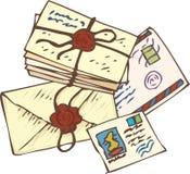 Buchstaben und Postkarten stockfotos