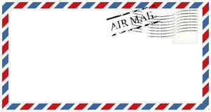 Buchstaben und Poststempel, Luftpostentwurfsvektor lizenzfreie abbildung