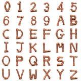 Buchstaben und Zahlen des Kupferrohrs 3d Stockbild