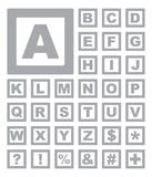 Buchstaben und Zeichen-Ikonen Stockbilder