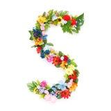 Buchstaben von Blättern und von Blumen Stockbilder