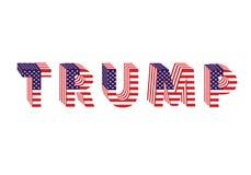 Buchstaben von der Flagge Trumpf-Donald-Wahltabelle Lizenzfreie Stockfotos