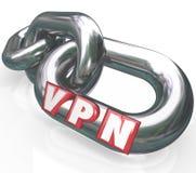 Buchstaben VPNs 3d auf Kettengliedern in der sicheren Verbindung virtuelles Perso Lizenzfreies Stockbild