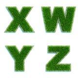 Buchstaben X, W, Y, Z als Rasen - Satz 3d Lizenzfreies Stockfoto