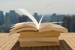 Buchstapel auf einem Dach Stockbild