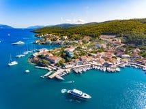 Bucht Fiskardo Cephalonia Stockfoto