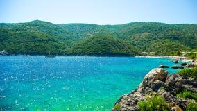 Bucht Mikros Gialos, Lafkada, Lefka, Levka-Insel, Griechenland Lizenzfreie Stockbilder