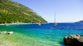 Bucht Mikros Gialos, Lafkada, Lefka, Levka-Insel, Griechenland stockbilder