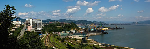 Bucht-Nachodka-Panorama Stockfoto
