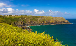 Bucht nahe Eidechsen-Leuchtturm, Cornwall, England Stockfoto