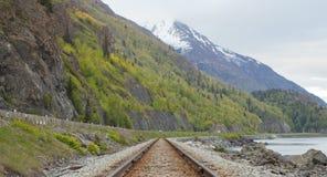 Bucht nahe Eisenbahn, bewölkter Tag lizenzfreie stockbilder