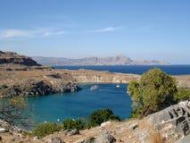 Bucht von Lindos, Rhodos-Insel stockbild