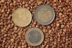 Buchweizen, Lebensmittelhintergrund Lizenzfreies Stockbild