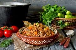 Buchweizen mit Fleisch und Gemüse Stockfotografie