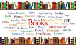 Buchwortwolke und -bücher auf Regal Stockbilder