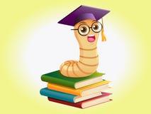 Buchwurm auf Büchern Lizenzfreie Stockfotos