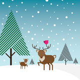 Buck, deer and bird in snow with pine trees. A stylized illustration of a brown and beige buck with a magenta bird sitting on its long horns plus a deer in the vector illustration