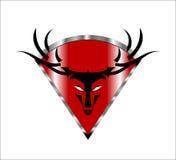Buck. Deer. Wild Buck Head on the red Metallic diamond shield Royalty Free Stock Images