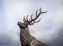 Buck Elk Deer Statue Against Stormy Sky Stock Photo