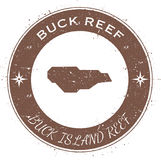 Buck Island Reef circular patriotic badge. Grunge rubber stamp with island flag, map and name written along circle border, vector illustration Stock Photography